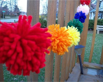 Bright Colors Yarn PomPom Garland | Party Decor | Bubblegum | Rainbow Party | Candy Party | Banners | Buntings | Nursery Decor | Classroom