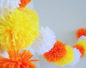 Yellow, Orange, White Yarn Pom Pom Garland | Halloween Decor | Pompom Bunting | Pompom Garland | Candy Corn Decor | Halloween Party Decor
