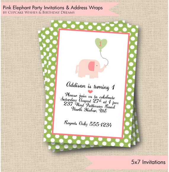Pink Baby Elephant  - Preppy Elephant - Printable Party Invitation- with Envelope Address Wraps