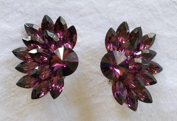 Gorgeous Large Purple Rhinestone Clip Earrings