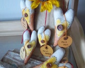 Candy corn heart ornies handmade primitive halloween autumn home decor set of 5 OOAK