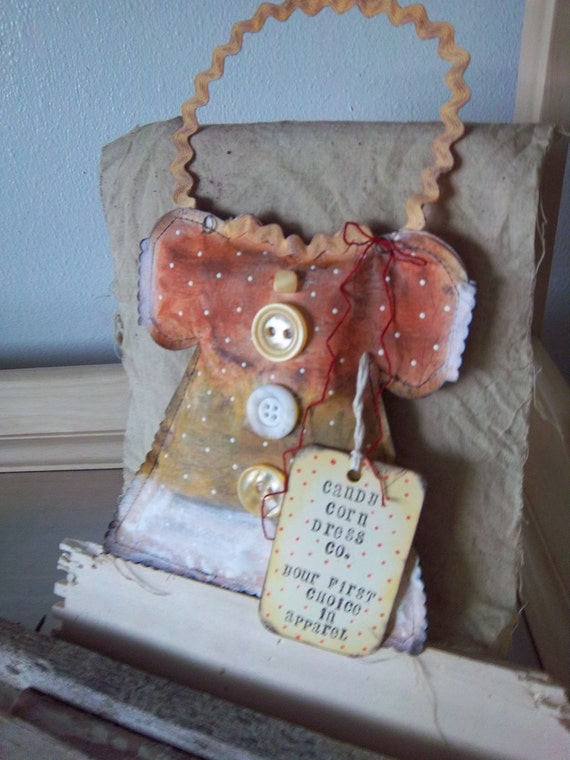 Primitive candy corn ornie handmade paper dress door hanger wall decoration OOAK