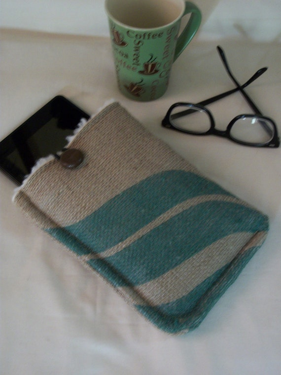 Kindle Case Upcycled Coffee Bean Bag /Kindle Fire /Nook /Padded Sleeve /Eco Friendly