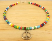 Carnival Beads Peace Sign Anklet