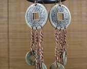 RESERVED FOR FROMYESTERDAY So Gypsy So Hippie Chinese Coin Earrings