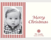 Custom Holiday  Photo Card - striped snowflake