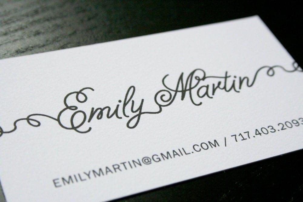 Fun Script Font Calling Card