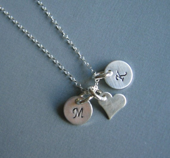 Delicate Heart & Initials NECKLACE -- Sterling Silver