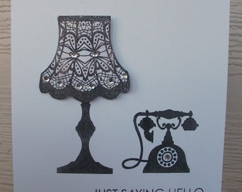 "Handmade and hand stamped ""Just saying Hello"" card"