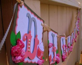 Handmade Banner - Custom made - GO GREEN - Name Banner Happy Birthday Baby Shower Bridal Shower Cupcakes