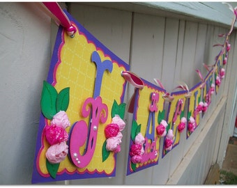 Handmade Banner - Custom made - GO GREEN - Name Banner Happy Birthday Baby Shower Bridal Shower Flower Garden Party