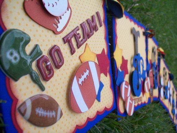 Handmade Banner - Custom made - GO GREEN - Name Banner Happy Birthday Baby Shower Sports Football Baseball Soccer Basketball