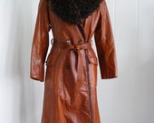 Sale! 1970's Fabulous Vintage Leather and Lambs wool Trench Coat, Boho hipster