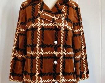 1960'S Vintage Count Romi Velveteen Brown Pea Coat