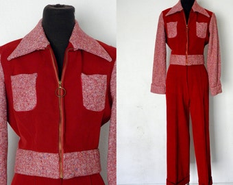 1970's/ 1960's Vintage Red Hitch-hiker USA Suit with High Waist Flares and Jacket