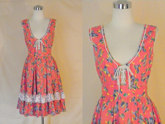 1970's Vintage Pink and Pastel Folk  Prairie Corset Dress