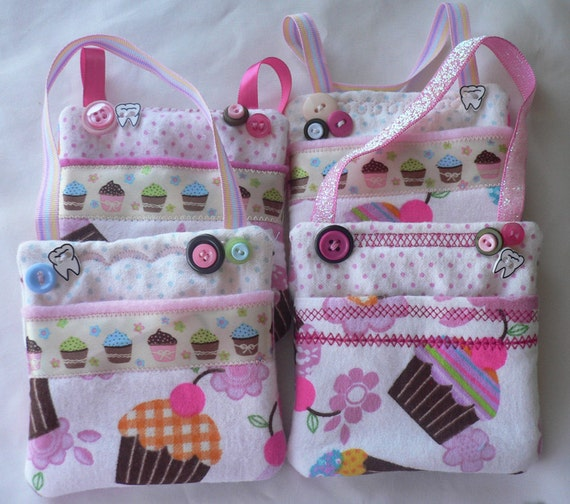 Tooth Fairy Pocket Bag - Pink Cupcakes - would make great birthday party favors