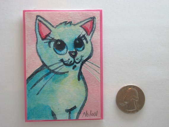 CUTE KITTEN ACEO Handmade in Watercolor