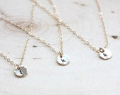 Bridesmaids Gift Set of FIVE, 5 Tiny Gold Initial Necklaces - Personalized Hand Stamped Tiny Initial Disc Charm - 14k Gold Filled Necklace