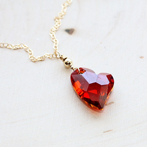 crystal heart necklace valentines day gift for her gold, Ideas