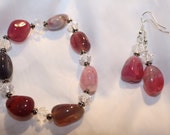 Beautiful Natural Agate and Crystal Nugget Bracelet and Earring Set
