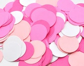CLEARANCE - Pretty in Pink - Birthday Decoration - Circle Confetti Punch-Outs - Paper - Bridal Shower Decor