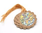 Set of 12 Popular U.S. Cities Map Paper Gift Tags  - US Tourist Attractions - Travel Party Favor Tags - Hanging Tags