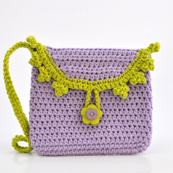 Small Bag - Purple and Green - Crochet Purse - Girl Fashion - Eggplant ...