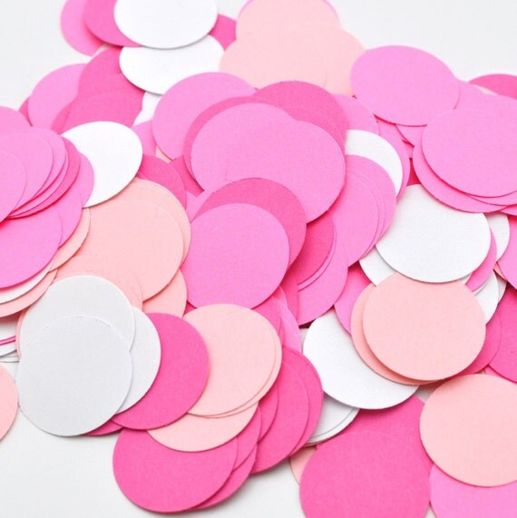 Pretty in Pink - Birthday Decoration - Circle Confetti Punch-Outs - Paper - Bridal Shower Decor