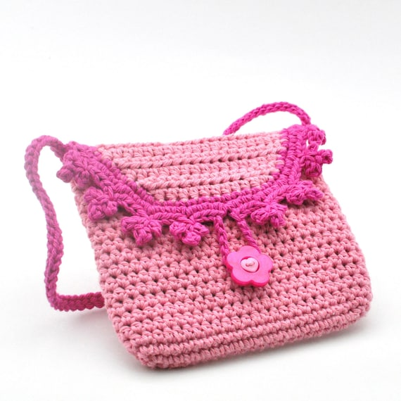 ... - Pink on Pink - Crochet Fashion Bag for Little Princess - Fancy