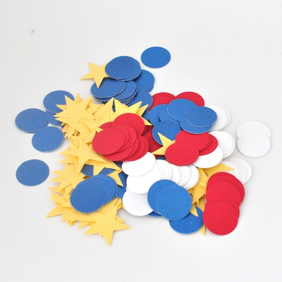 Patriotic Confetti - Super Hero Birthday Party Decor - Fourth of July Decoration - Theme Party - Stars