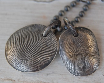 Custom TWO Sterling Fingerprints - Necklace with Sterling Ball Chain