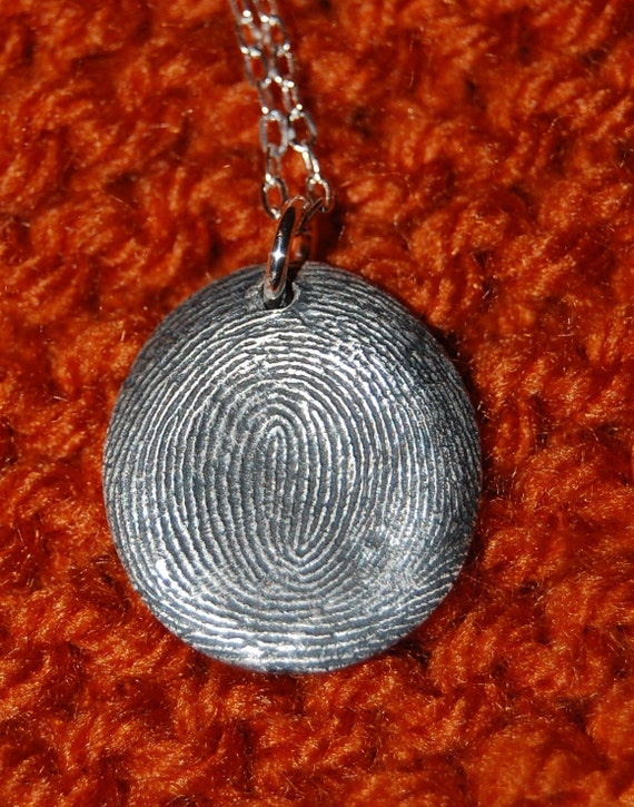 Your Own Custom Silver Fingerprint Pendant with Chain