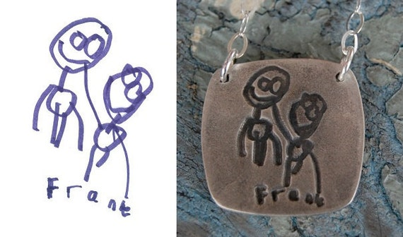 Your Child's Art in Solid Silver - Cusomized Keepsake Necklace