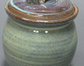 C is for Cookie Green Lidded Jar Wheel Thrown Pottery