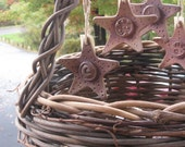 Celestial Stars Ornaments in Rust Set of 4 Rustic Christmas Country Shabby Iron Brushed Red Brown