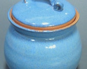 C is for Cookie Blue Lidded Jar Wheel Thrown Pottery Ready to Ship Expedited Shipping