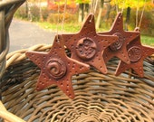 Star Shaped Ornaments Set of 4 Rustic Style Celestial in Autumn Brown Tones a