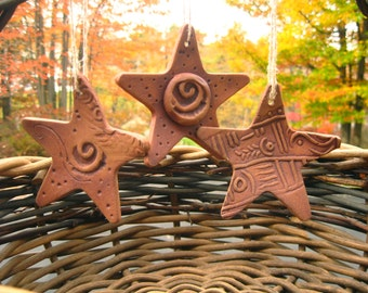 Star Ornaments Set of 3 Rustic Cabin Celestial in Rust Brown Brick Autumn Tones d