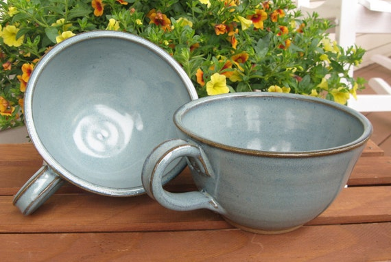 Soup and Cereal Bowls Set of 2 Handmade Pottery Country Style Handled in Green