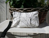 Leaves in white with black strap  - Handmade Purse  / Wristlet