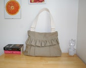 Handmade everyday purse / handbag - Khaki cotton canvas with ruffle bag