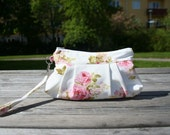 Bag purse wristlet Shabby Chic Inspired Romantic Roses in White - Handmade Purse / Wristlet