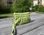 Bag purse wristlet Stockholm Dots on String in Lemon Green - Handmade Purse  / Wristlet
