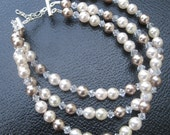20% OFF SALE--Crystal and Pearl Bracelet