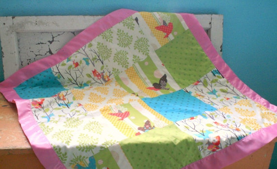 Patchwork Baby Blanket - It's a Hoot and Cream Minky with a Pink Satin Trim  - Personalization Available