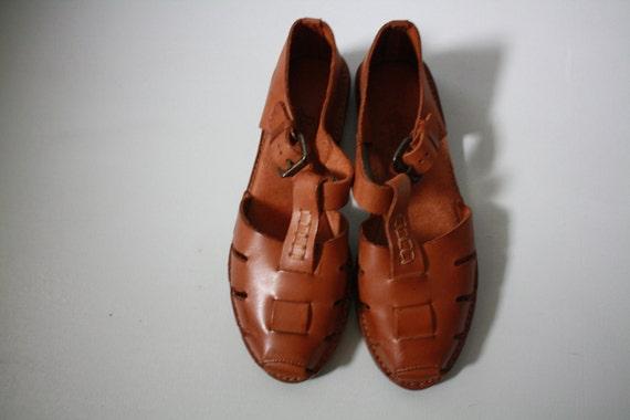 Vintage All  Leather cognac sandals 1980s BASS 5M