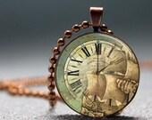 SALE Vintage Pirate Ship Clock Face Domed Resin Pendant C204-5CM