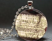 Willy Wonkas Golden Ticket Domed Resin Pendant C55s