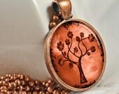 Copper Rose Tree Pendant Art Pendant Resin Pendant Picture Pendant Photo Pendant Resin Picture Pendant C119C - artyscapes